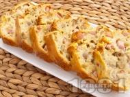 Рецепта Солен кекс с шунка и зелени маслини